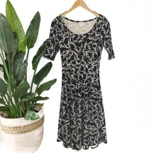 Lularoe Nicole Black White Bird Print Dress S